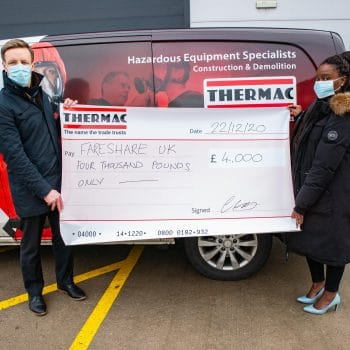 Thermac donation to Fareshare charity