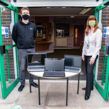 Laptop donation to Sheffield School